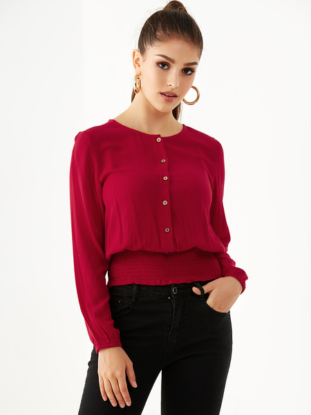 YOINS Burgundy Front Button Long Sleeves Smocked Blouse