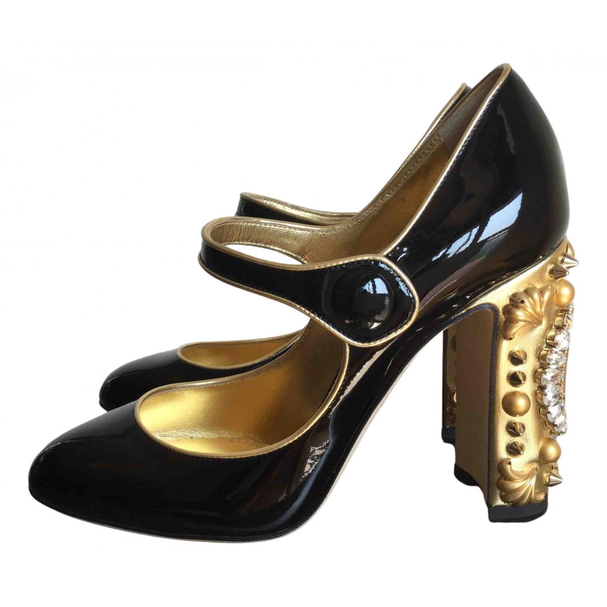 Dolce & Gabbana N Black Leather Heels for Women 37.5 EU