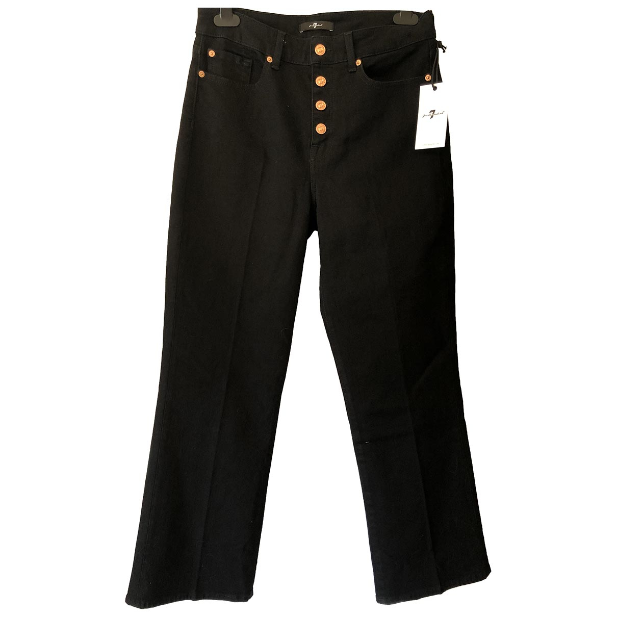 7 For All Mankind \N Black Cotton - elasthane Jeans for Women 30 US