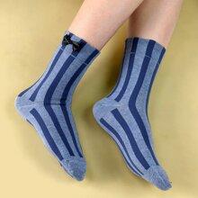 Socken mit Schleife Dekor und Streifen