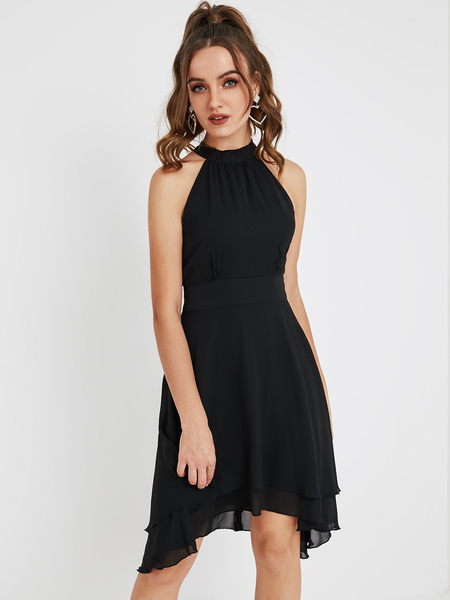 YOINS Black Cut Out Halter Sleeveless Dress