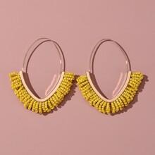 Bead Tassel Hoop Earrings