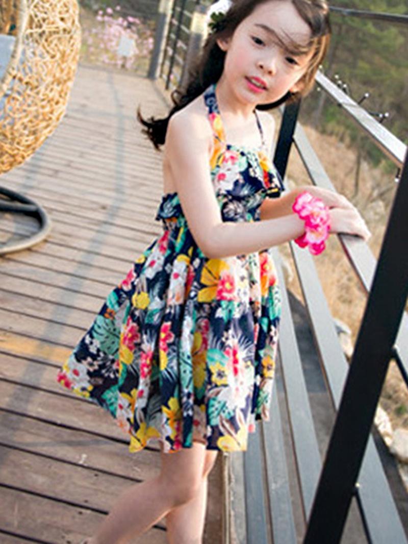 Ericdress Floral Print Halter Girls Dress