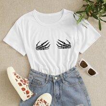 T-Shirt mit Schaedel Muster