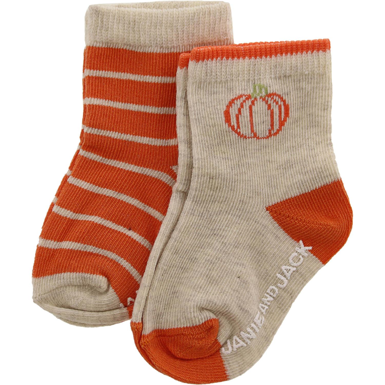 Janie And Jack Heather Oatmeal Pumpkin Striped Sock 2 Pack - 3-6 Months