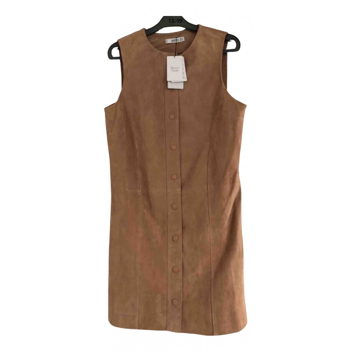 Mango \N Kleid in  Kamel Leder