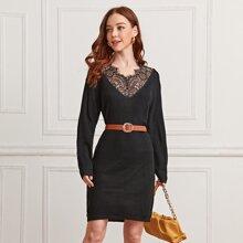 Rippenstrick Pullover Kleid mit Wimpern Spitzenbesatz ohne Guertel
