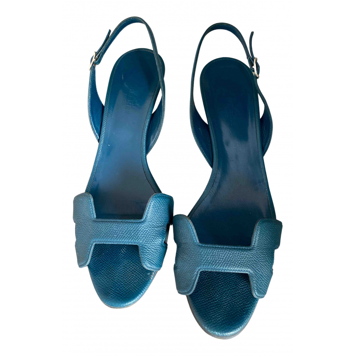 Hermes Night Sandalen in  Blau Leder