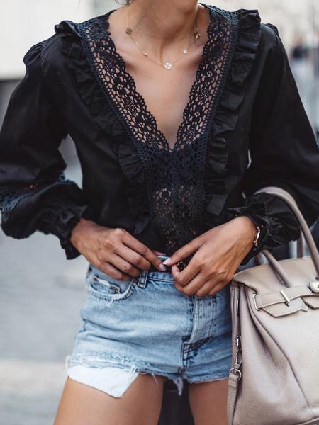 Yoins Black Lace Patchwork Ruffle Trim Lantern Sleeves Blouse