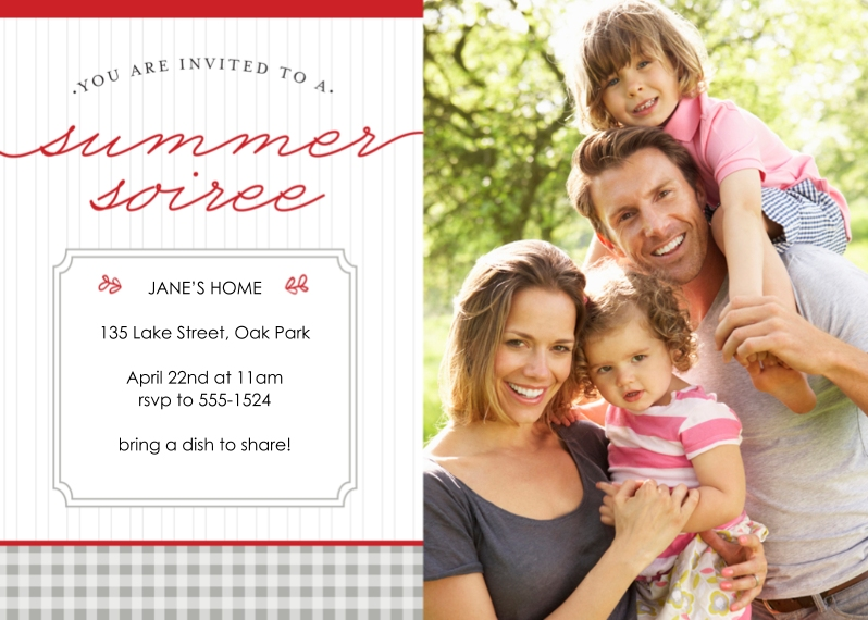 Party Invitations 5x7 Cards, Premium Cardstock 120lb with Elegant Corners, Card & Stationery -Summer Soiree