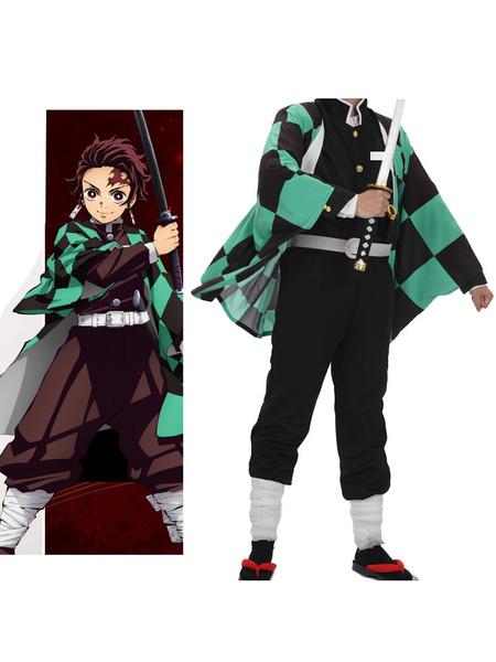 Milanoo Demon Slayer Kimetsu No Yaiba Cosplay Kamando Tanjirou Green Cosplay Costume Halloween