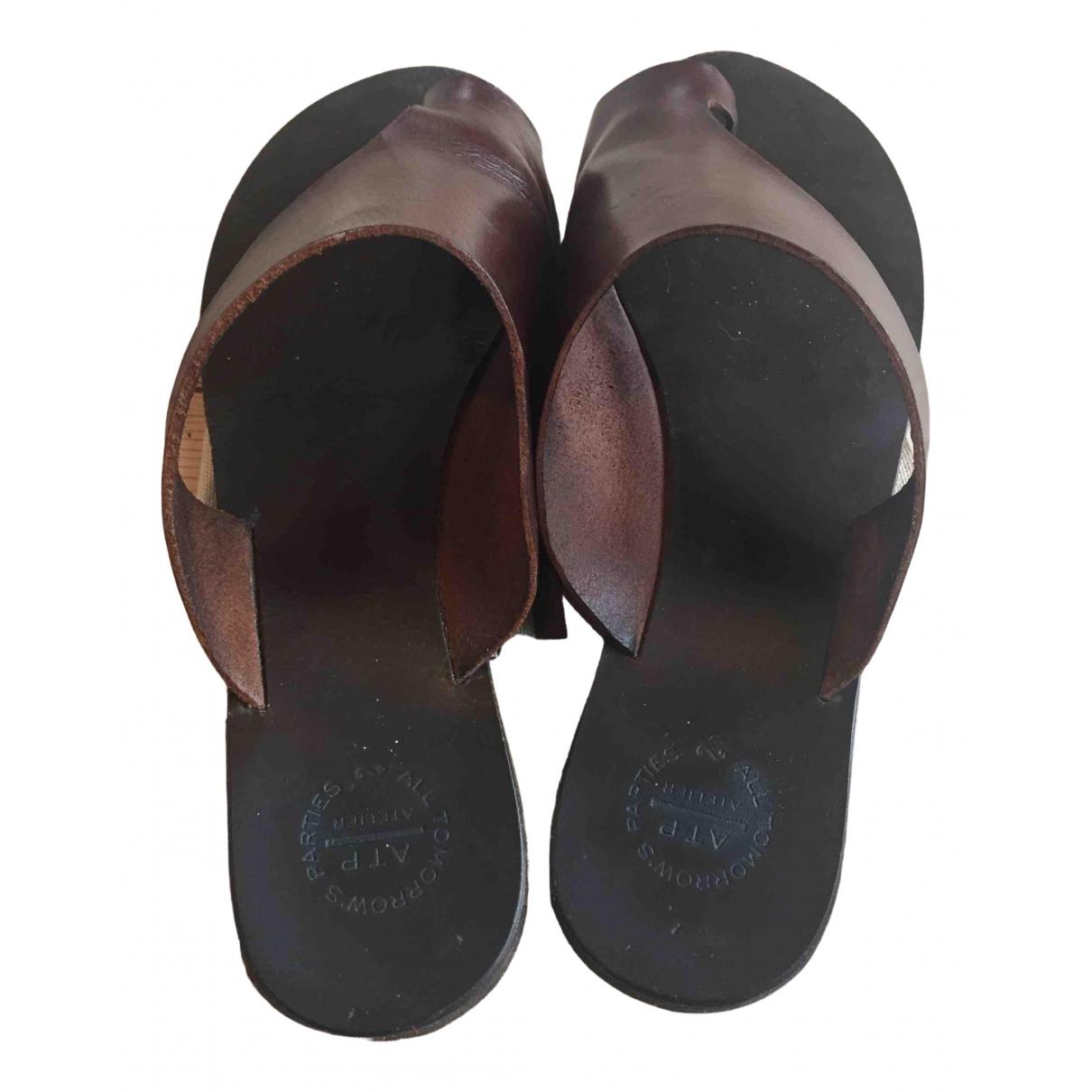 Atp Atelier - Sandales   pour femme en cuir - bordeaux