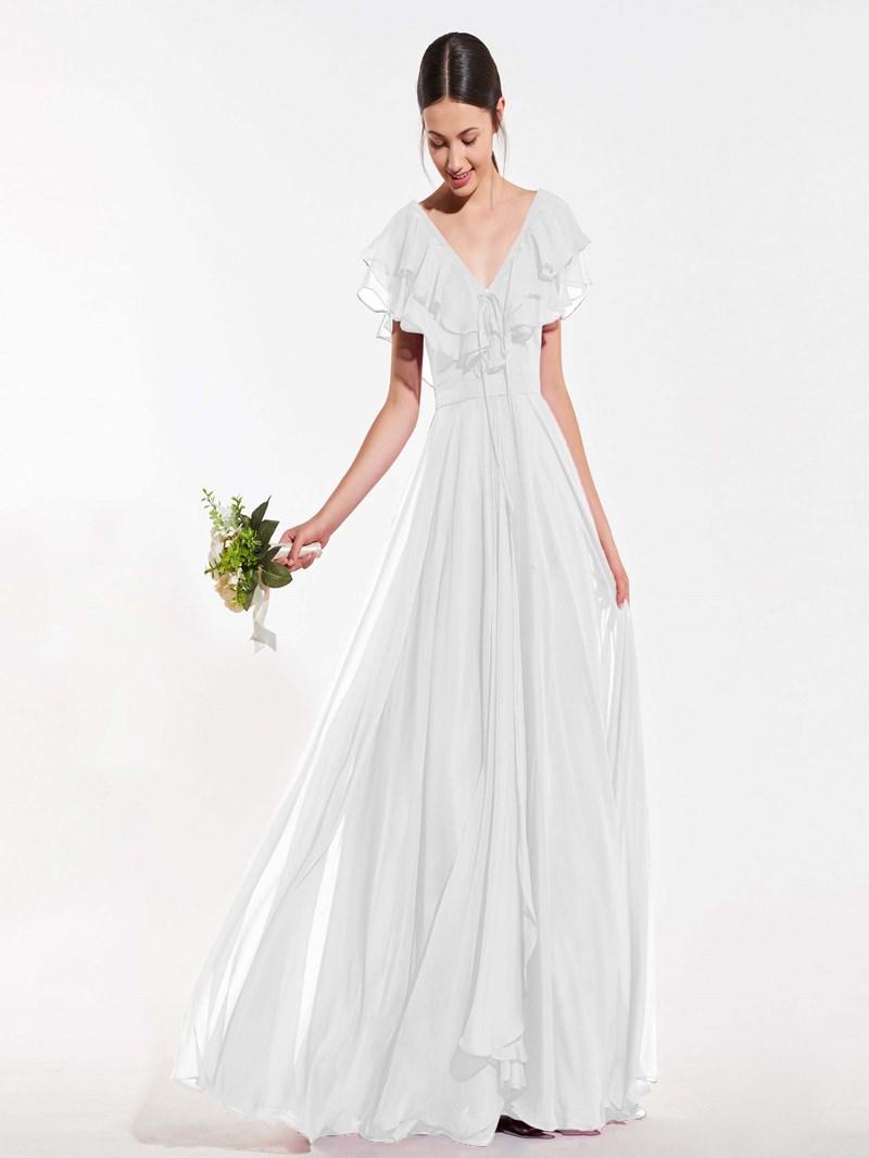 Ericdress A Line V Neck Ruffles Long Bridesmaid Dress