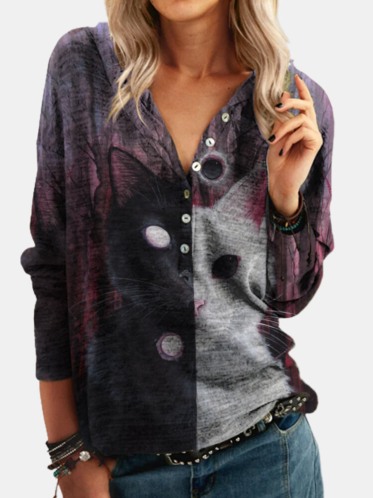 Cat Print Patchwork Button Long Sleeve Hoodie For Women
