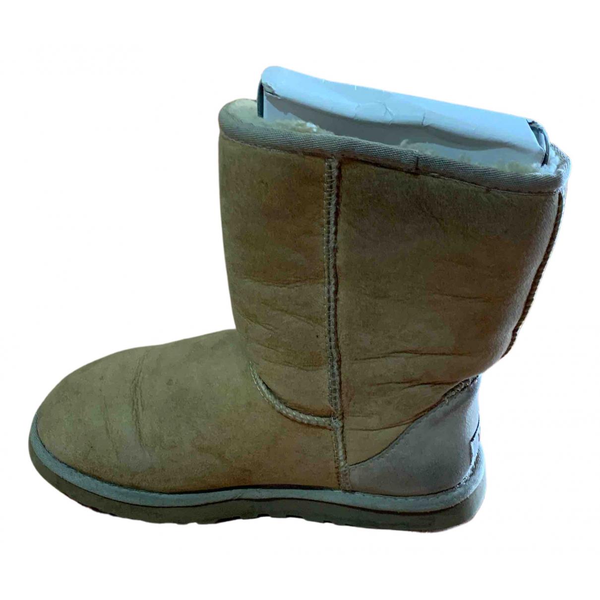 Ugg \N Stiefel in  Beige Veloursleder
