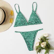 Dalmatian Triangle Thong Bikini Swimsuit