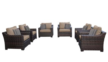 RIVER-06w-WHEAT Kathy Ireland Homes and Gardens River Brook 6-Piece Wicker Patio Set 06w - 1 Set of Truffle and 1 Set of Toffee