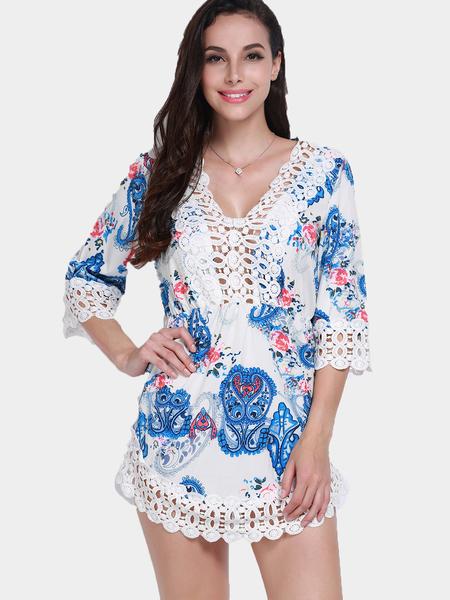 Yoins  Deep V Neck Hollow Lace Trim Dress