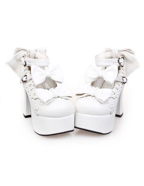 Milanoo Zapatos Lolita Tacones Pony Platforma Tirantes de Tobillo Lazos Hebilla