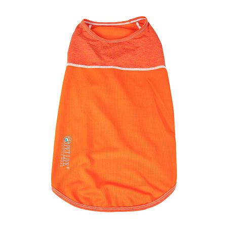 Pet Life  Active Aero-Pawlse Heathered Quick-Dry and 4-Way Stretch Performance Dog Tank Top T-Shirt, Medium , Orange