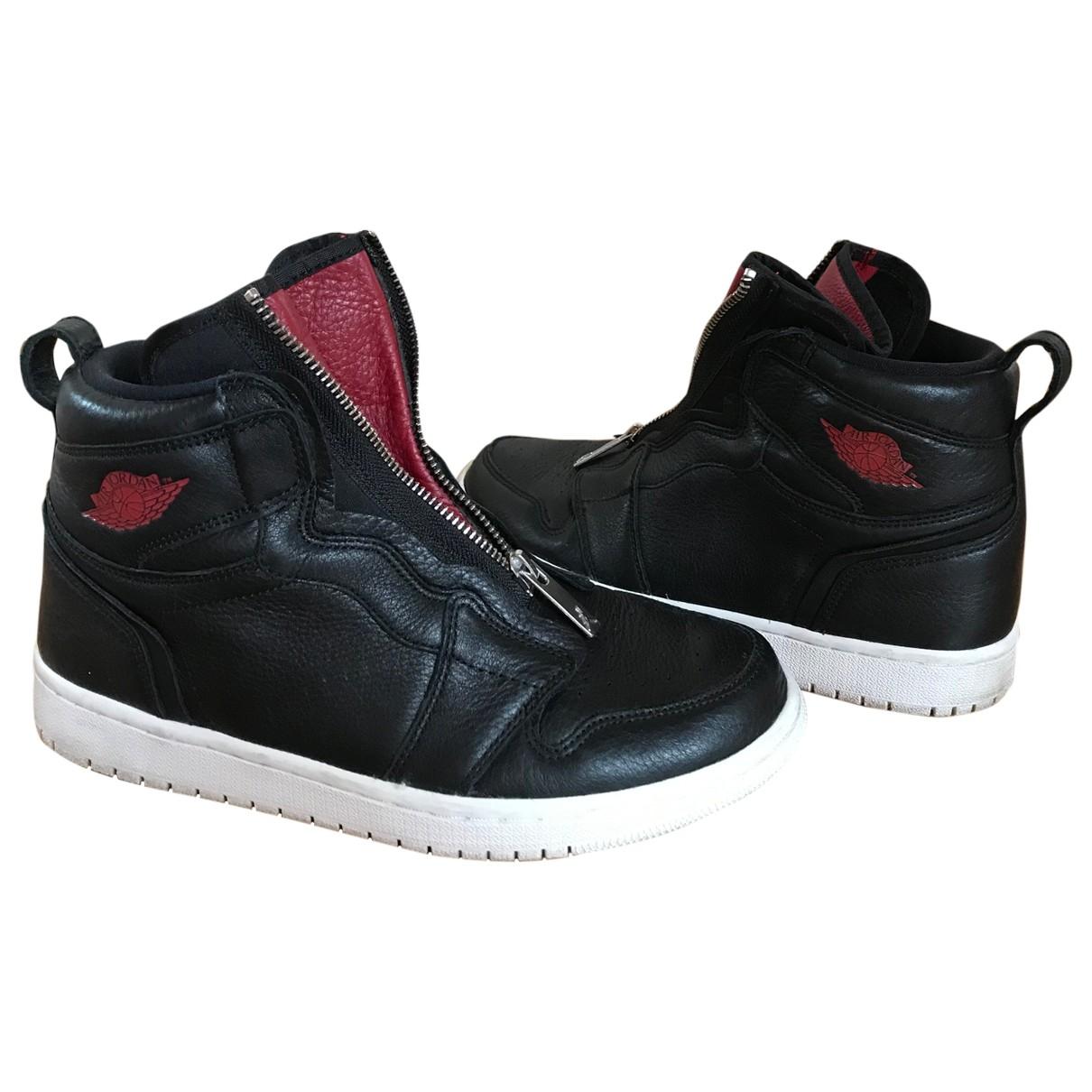 Jordan - Baskets Air Jordan 1  pour femme en cuir - noir