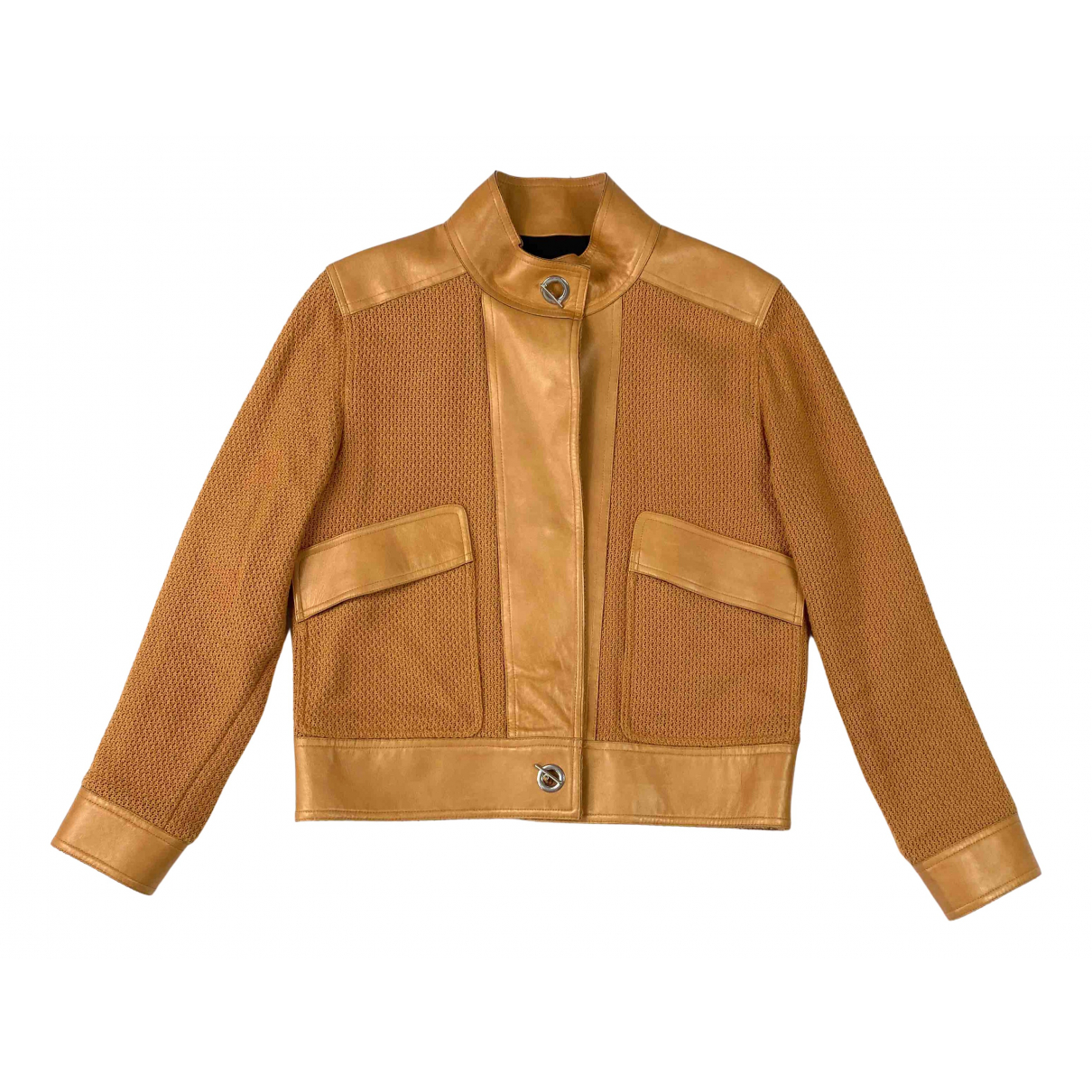 Maje Spring Summer 2019 Brown Leather jacket for Women 10 UK