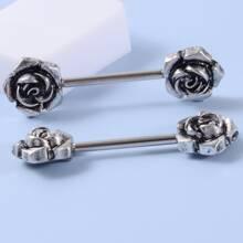 2 Stuecke Maenner Nippelring mit Blumen Design