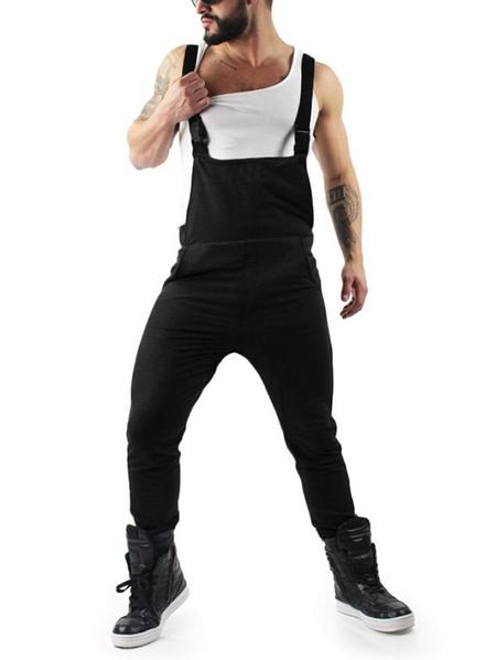 Yoins Men Summer Korean Style Multi Pockets Casual Jumpsuit Suspender Pants