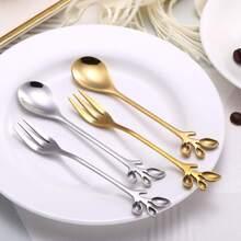Set de tenedor y cuchara con diseño de hoja 2 piezas