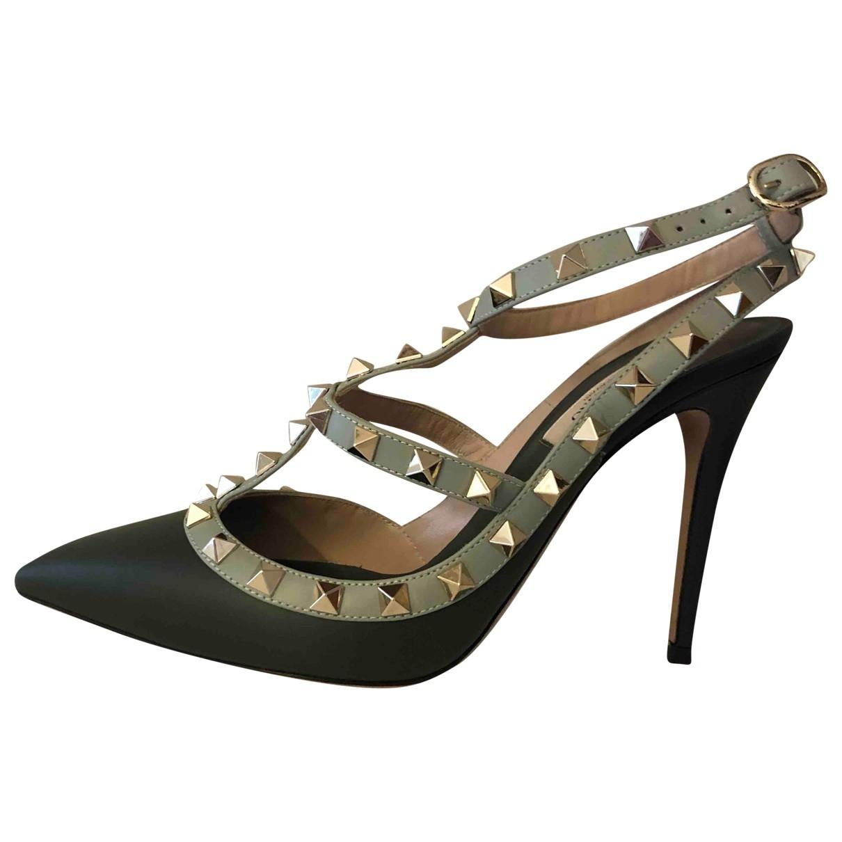 Valentino Garavani Rockstud Green Leather Heels for Women 37 EU