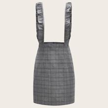 Plus Plaid Ruffle Trim Suspender Dress