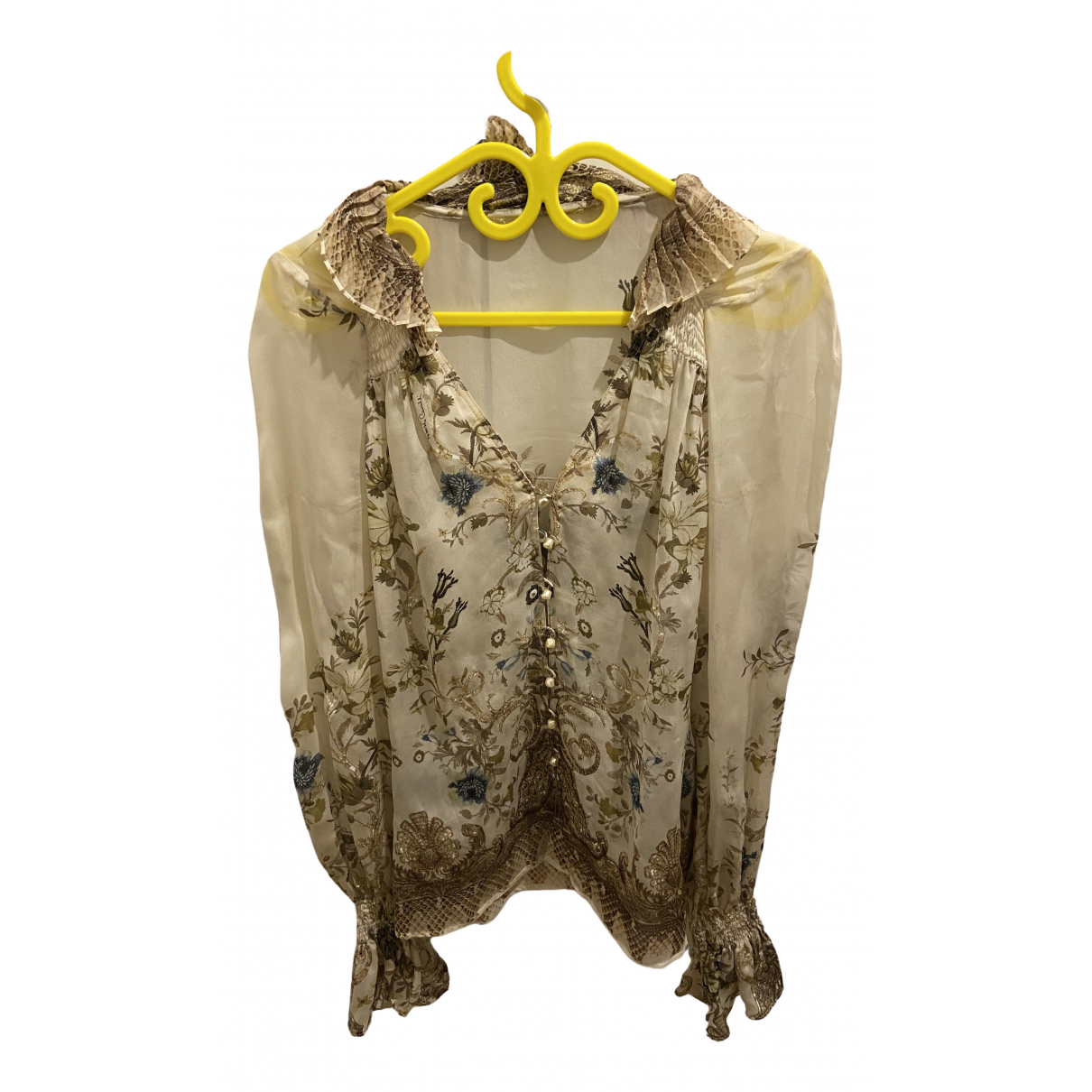 Roberto Cavalli \N Beige Silk  top for Women 40 IT
