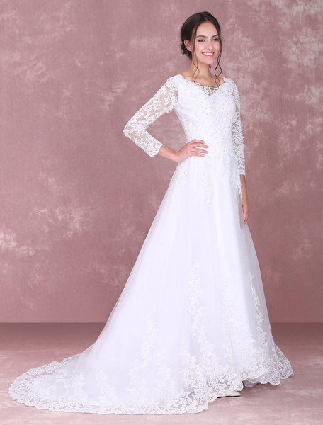 Milanoo White Wedding Dresses Lace Long Sleeve Beading V Neck Bridal Gown With Train