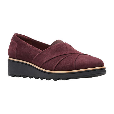 Clarks Womens Sharon Form Slip-On Shoe-Wide Width, 8 Wide, Red