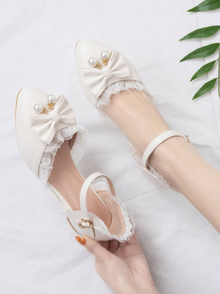 Milanoo Sweet Lolita Footwear Pink BowsLace PU Leather Puppy Heel Lolita Pumps