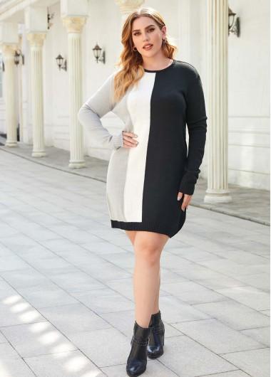 Plus Size Color Block Sweater Dress - XL