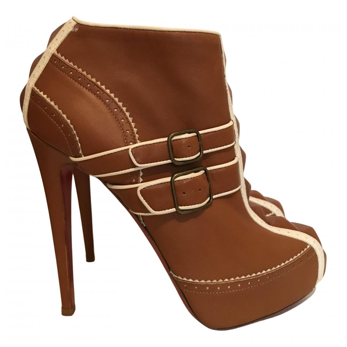 Christian Louboutin N Camel Leather Boots for Women 38 EU