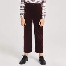 Einfarbige Samt Hose mit Knopfen auf Taille
