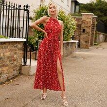 Ditsy Floral Split Thigh Belted Halter Dress