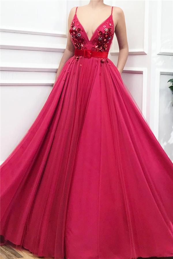 Robes de soiree elegantes a col en V Fushcia sans manches avec perles
