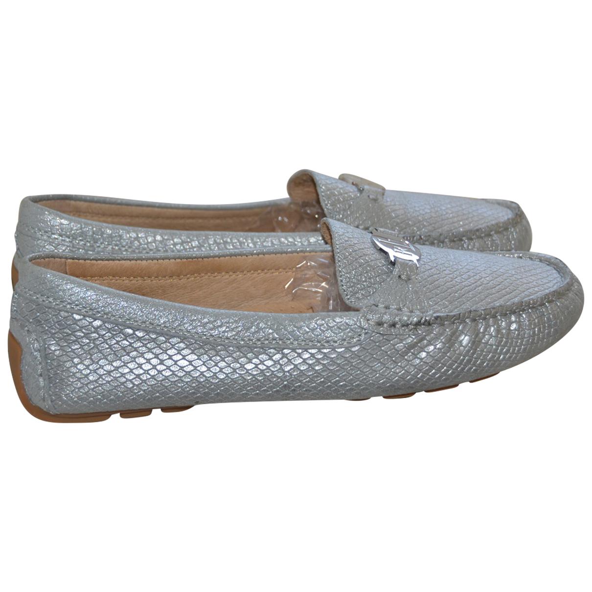 Lauren Ralph Lauren \N Grey Leather Flats for Women 9 US