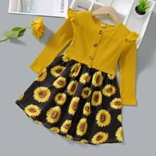 Toddler Girls Sunflower Print Rib-knit Colorblock Dress