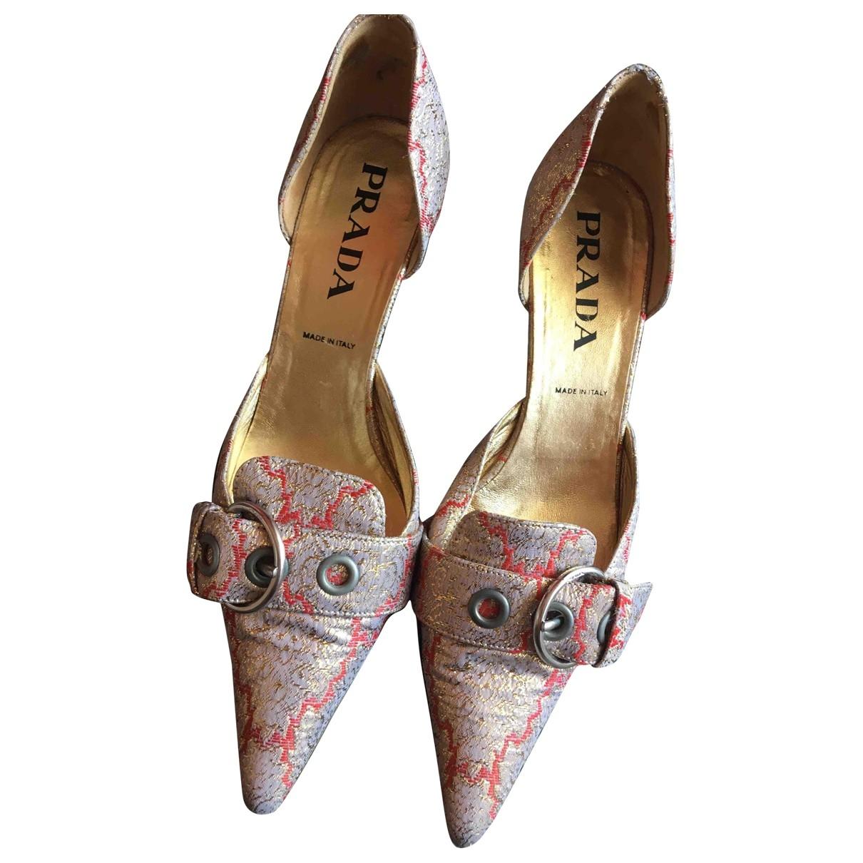 Prada \N Metallic Cloth Heels for Women 38 EU