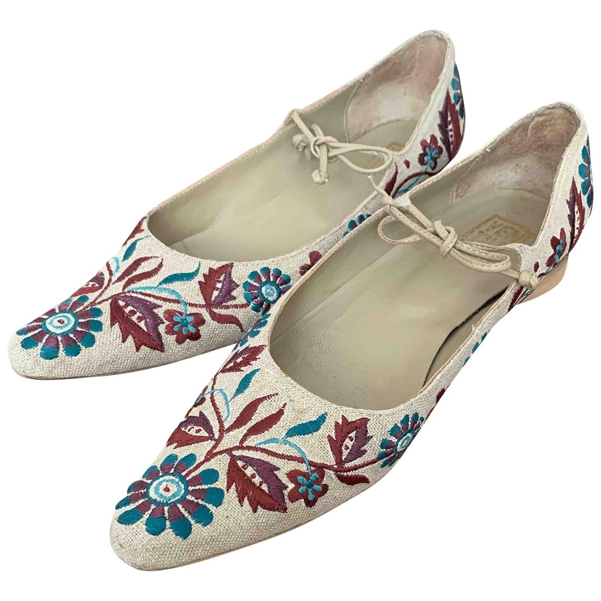 - Sandales   pour femme en toile - beige