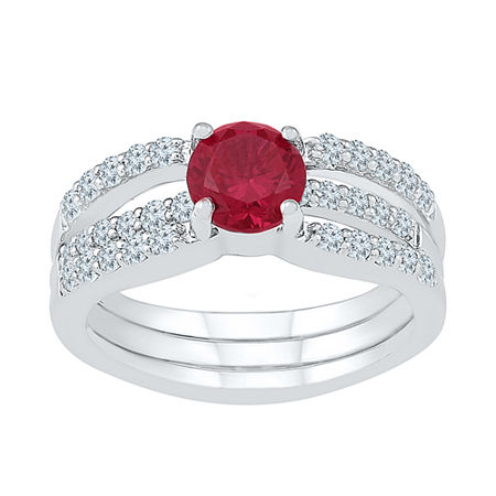 Modern Bride Gemstone Lab Created Ruby & Lab Created Sapphire Sterling Silver Bridal Set, 7 , No Color Family