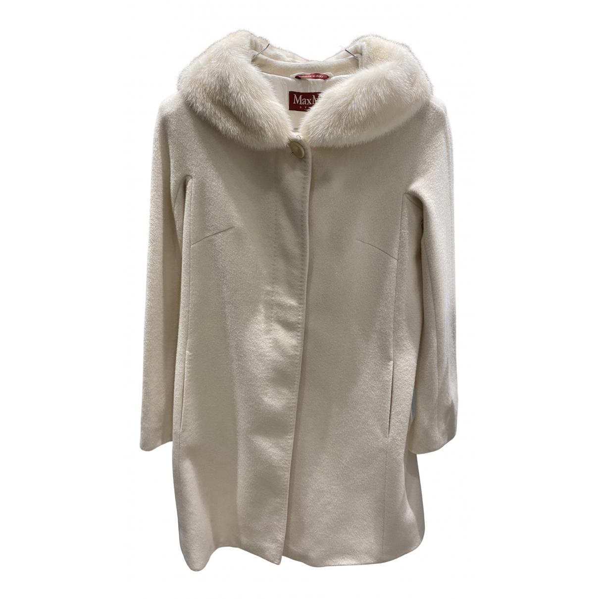 Max Mara Studio - Manteau   pour femme en laine - blanc