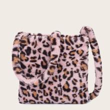 Bolsa bandolera con estampado de leopardo