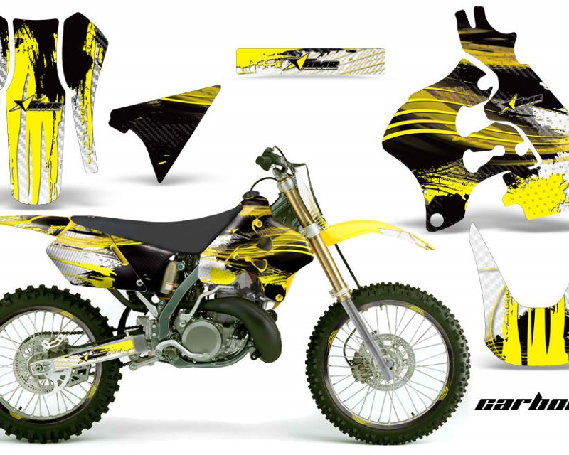 AMR Racing Graphics MX-NP-SUZ-RM125-96-98-CX Y Kit Decal Sticker Wrap + # Plates For Suzuki RM125 1996-1998 CARBONX YELLOW