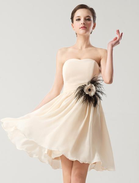 Milanoo Vestido de damas de honor de chifon sin tirantes
