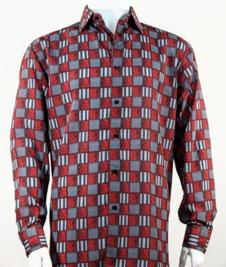 Full Cut Long Sleeve Squares Print Red Fashion Shirt